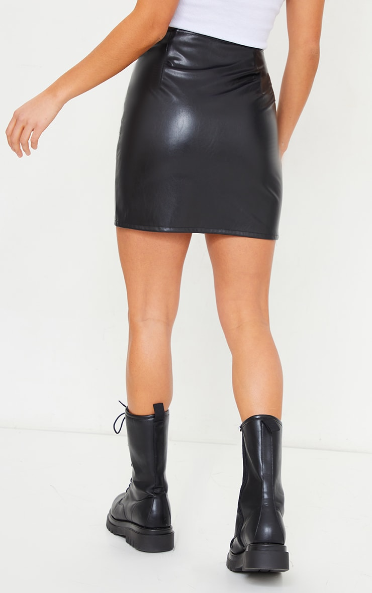 Petite Black Faux Leather Zip Through Mini Skirt 3