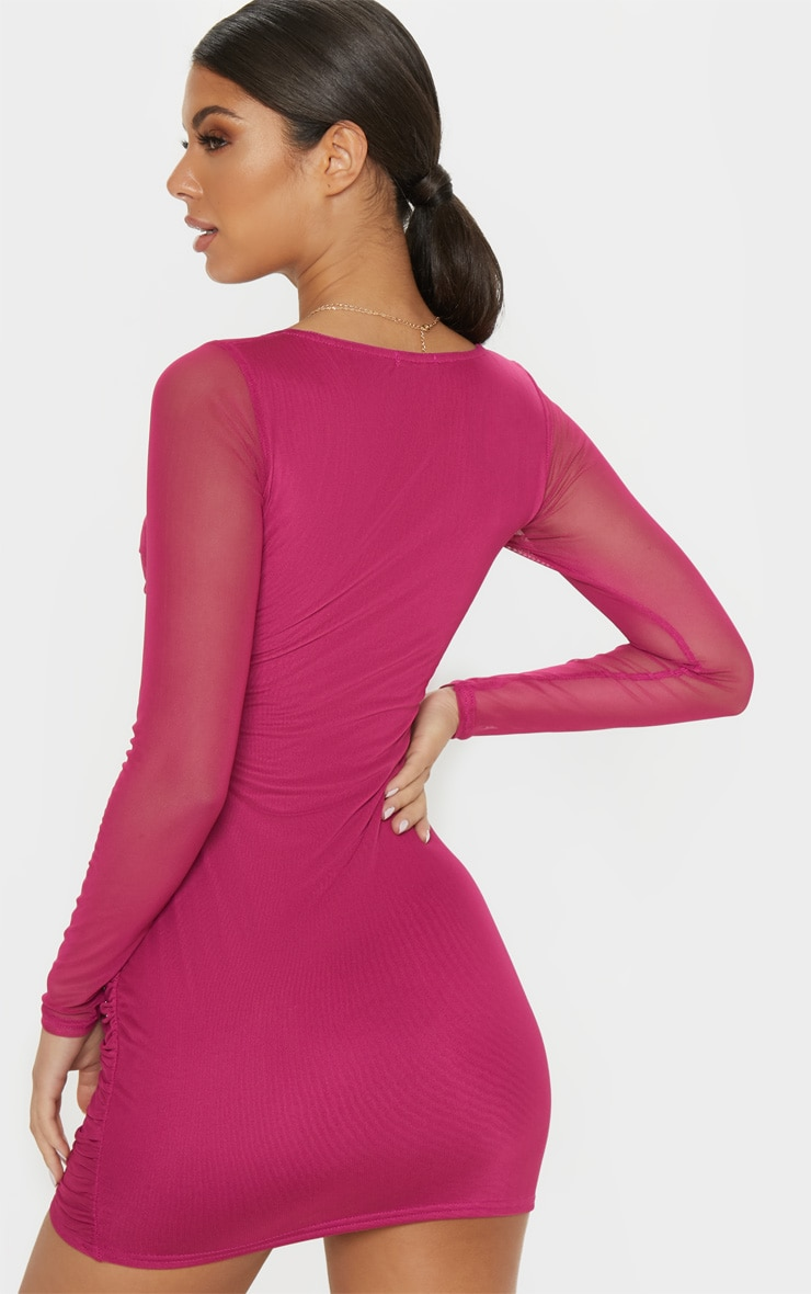 Hot Pink Mesh Square Neck Ruched Bodycon Dress 2