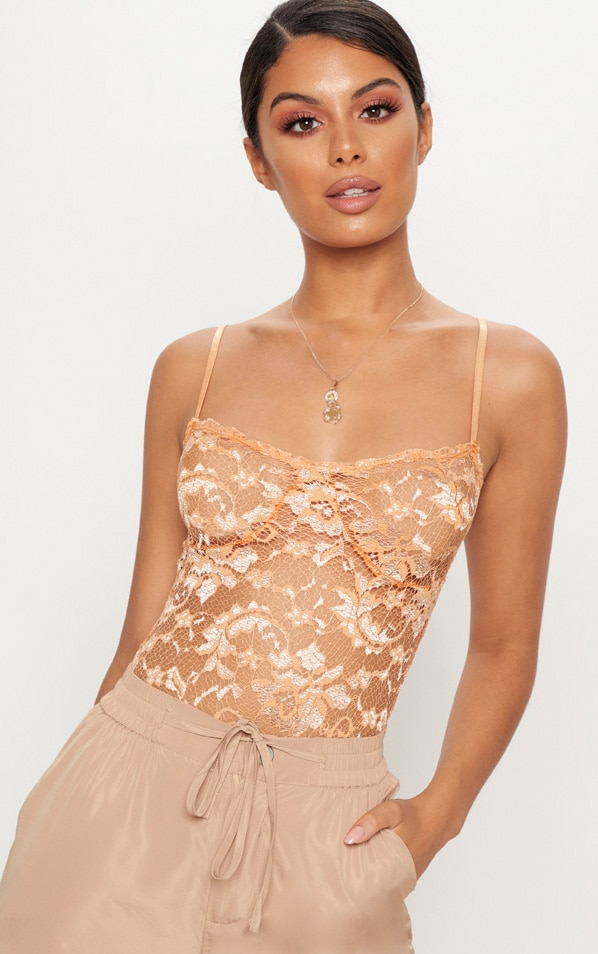 Tan Strappy Lace Cup Detail Thong Bodysuit