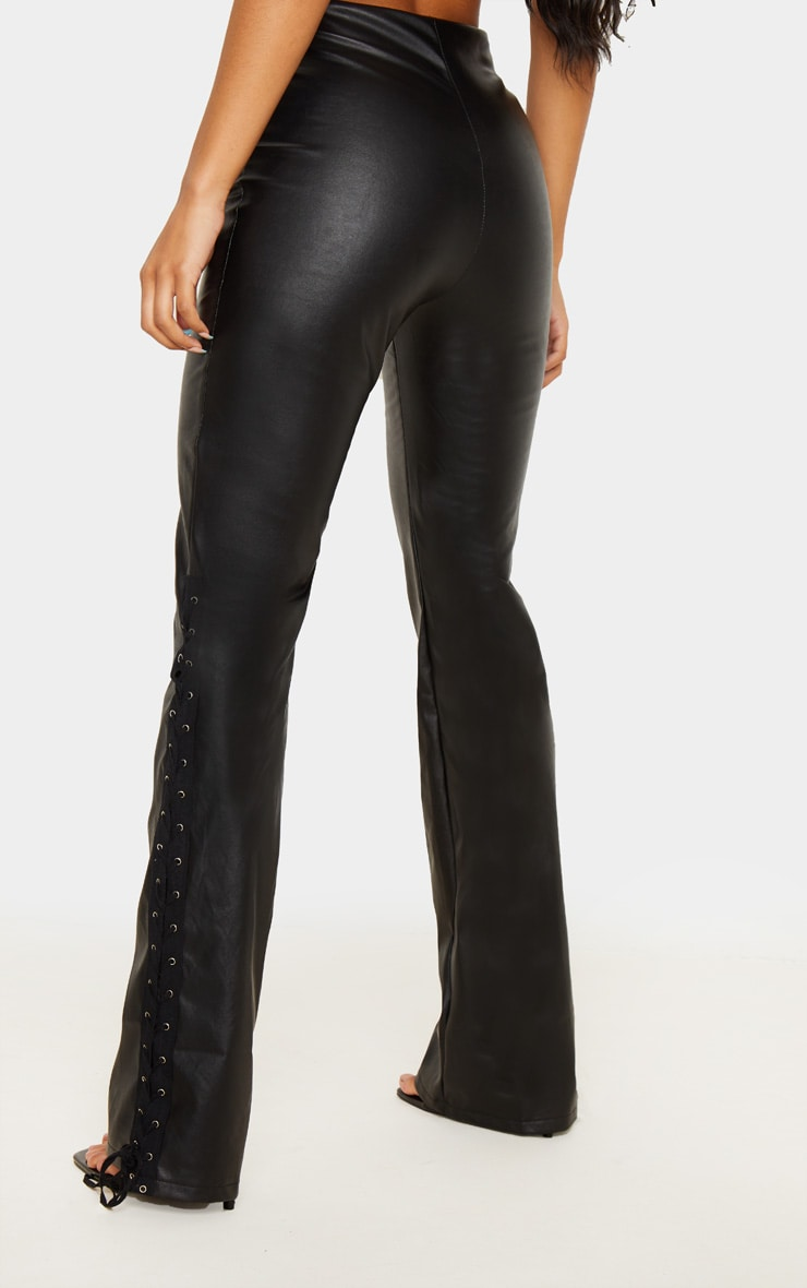 Black Faux Leather Lace Up Detail Flared Pants 4