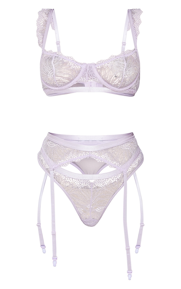 Lilac Underwired Delicate Frill Detail 3 Piece Lingerie Set 5