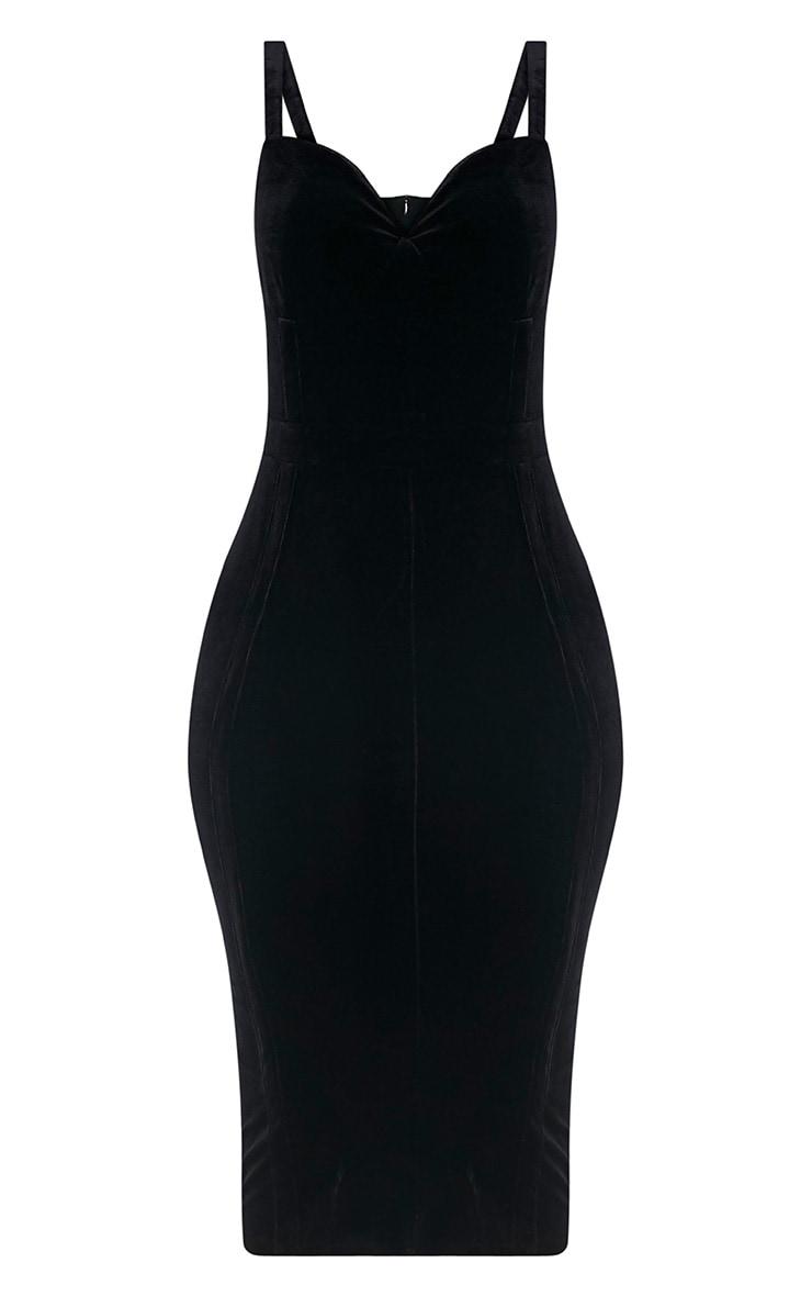 Garcia Black Velvet Panel Midi Dress 3