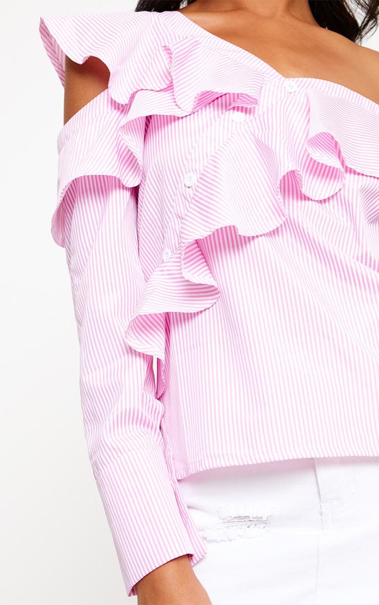 Pink Stripe Off Shoulder Frill Shirt 4