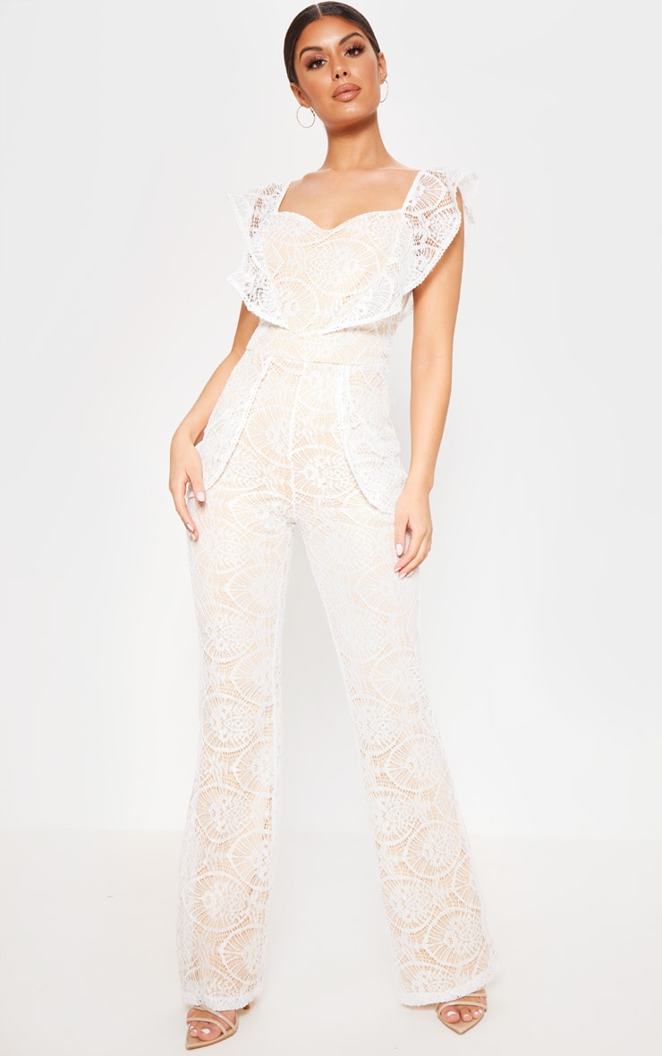 White Lace Frill Detail Sweetheart Neckline Jumpsuit