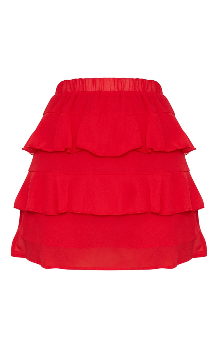 Red Chiffon Ruffle Mini Skirt 3