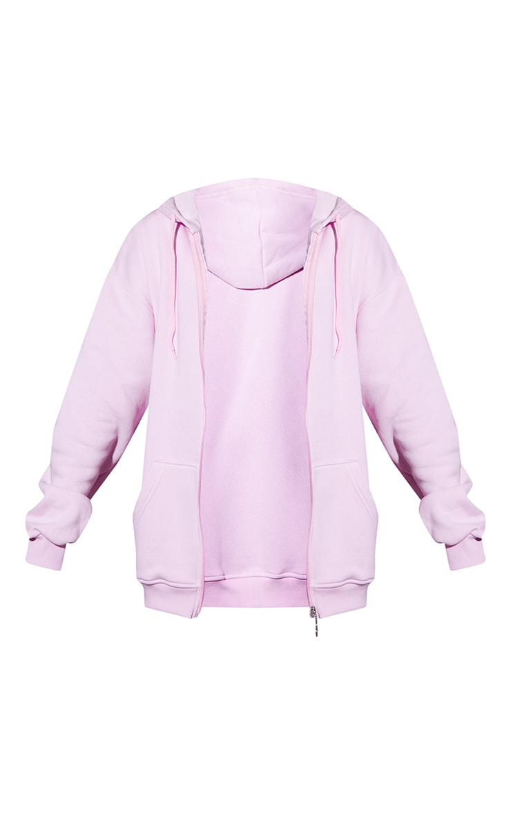 Light Pink Extreme Oversized Pocket Front Zip Through Hoodie 5