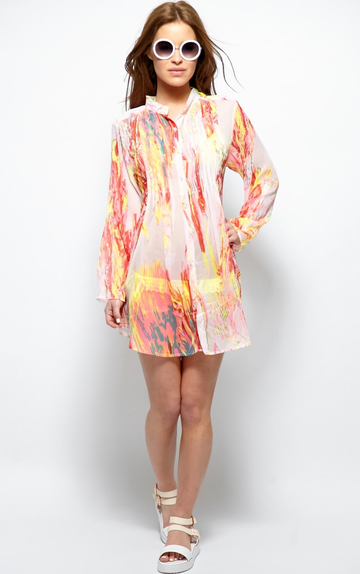 Riya Yellow Fluro Splash Chiffon Shirt 6