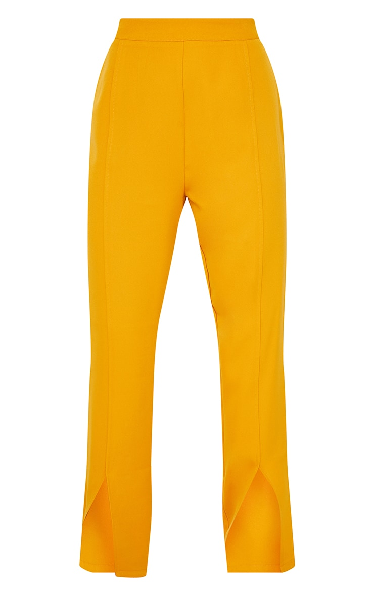 Petite Mustard Tailored Split Hem Straight Leg Pants 5