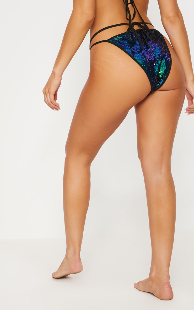 Green Ring Detail Sequin Bikini Bottom 4