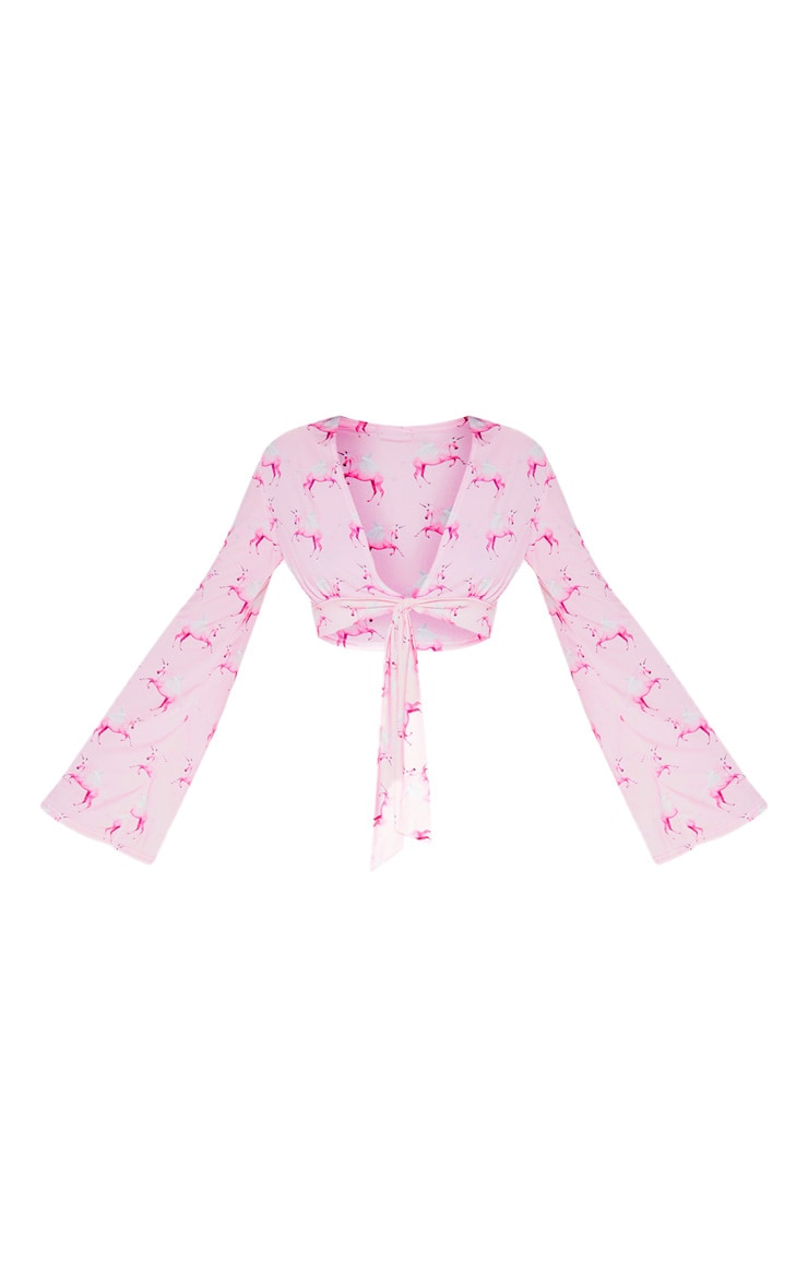 PRETTYLITTLETHING Unicorn Pink Tie Front Blouse 3