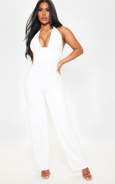 725f7ecc5be White Halterneck Wide Leg Jumpsuit