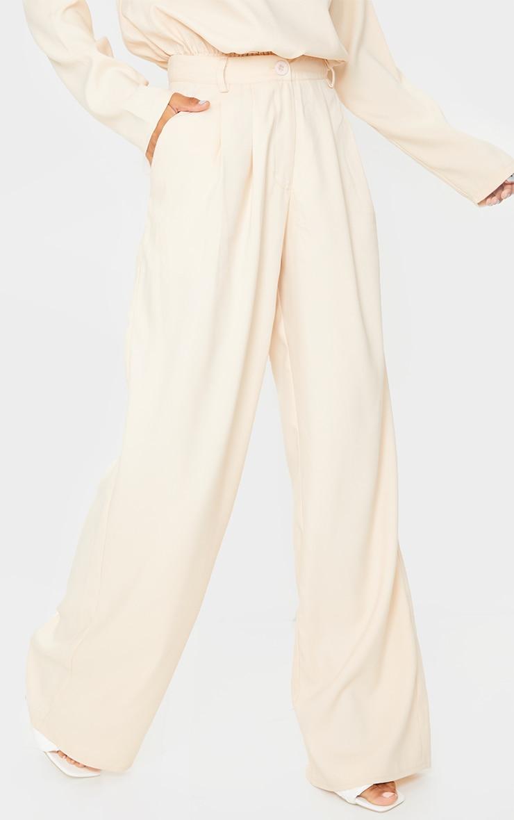 Cream Wide Leg Woven Trousers 2
