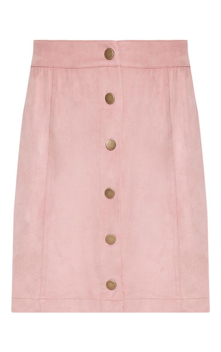 Cheryl Blush Faux Suede Button Skirt 4