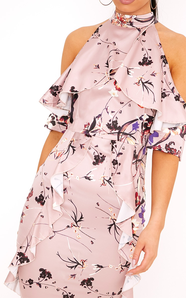 Esmie Blush Floral Cold Shoulder Midi Dress 5