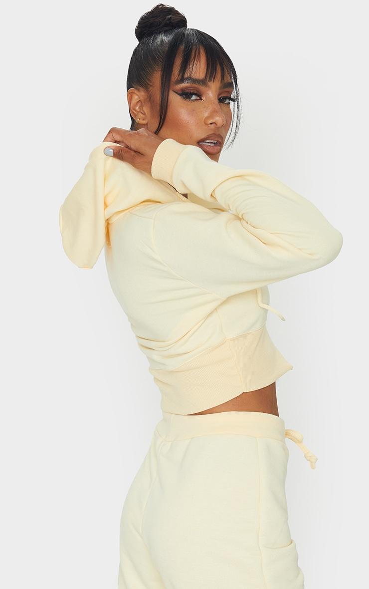 Pale Yellow Zip Up Bustier Hoodie 2