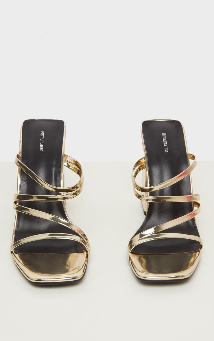 Gold Block Heel Strappy Mule Sandal 3