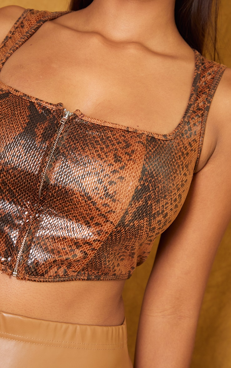 Tan Snake Faux Leather Zip Front Square Neck Crop Corset 4