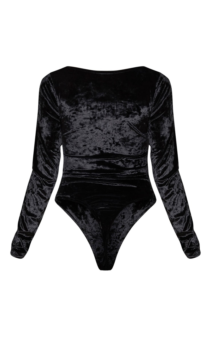 Tall Black Square Neck Crushed Velvet Bodysuit 4