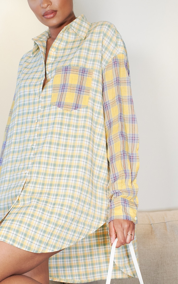 Yellow Contrast Check Shirt Dress 4