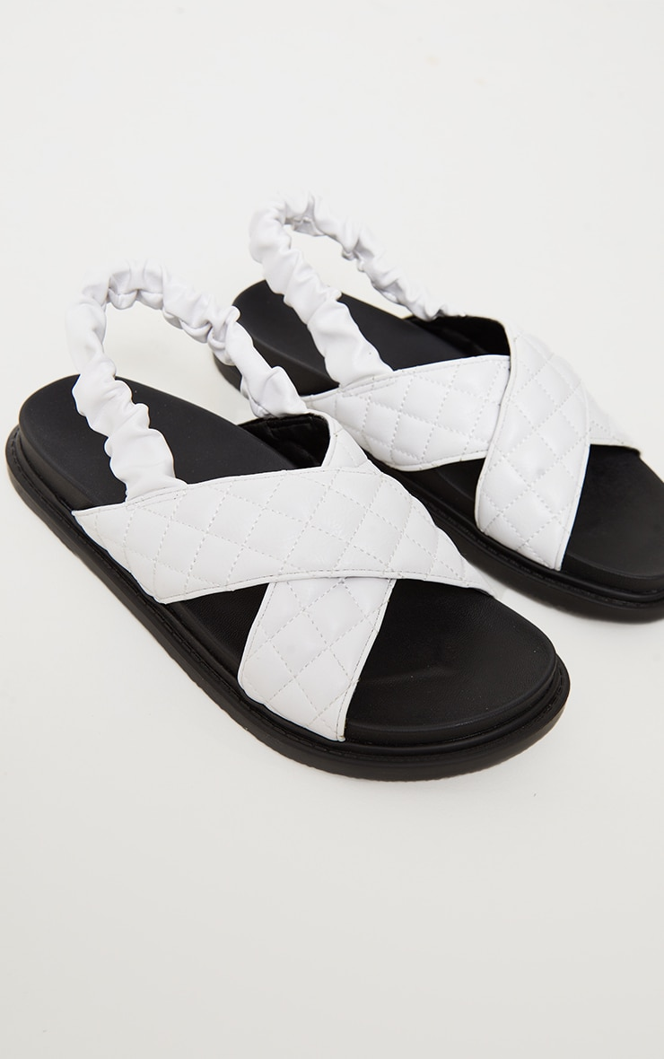 White Quilted Cross Strap Slingback Chunky Sandals 3