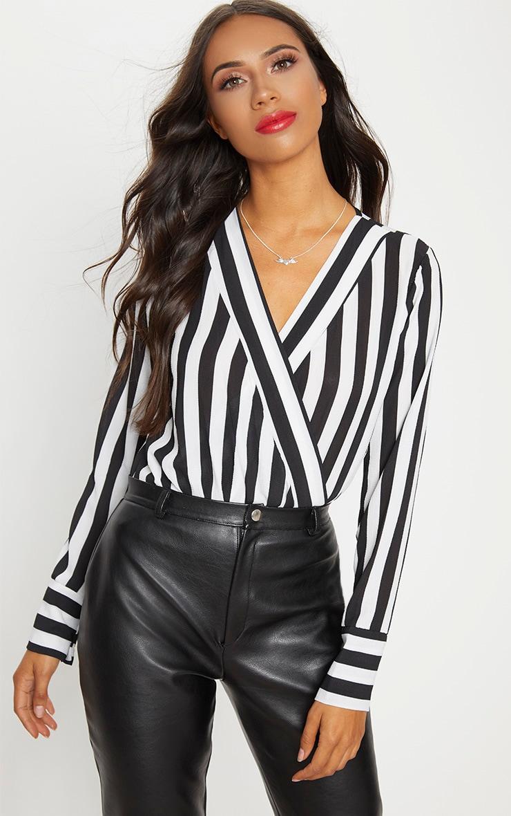 Black Monochrome Stripe Plunge Bodysuit 1