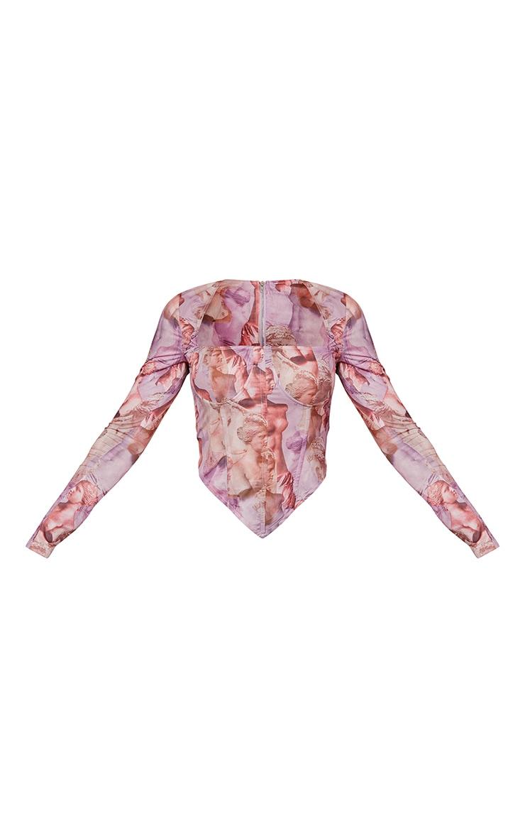 Crop top corset en maille rose imprimé Renaissance à détail buste et manches longues 5