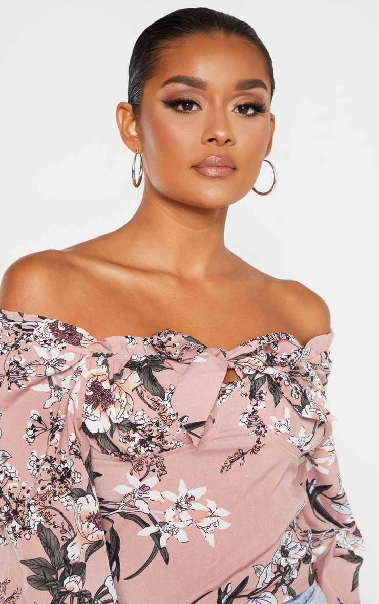 Pink Floral Woven Bardot Cropped Blouse 5