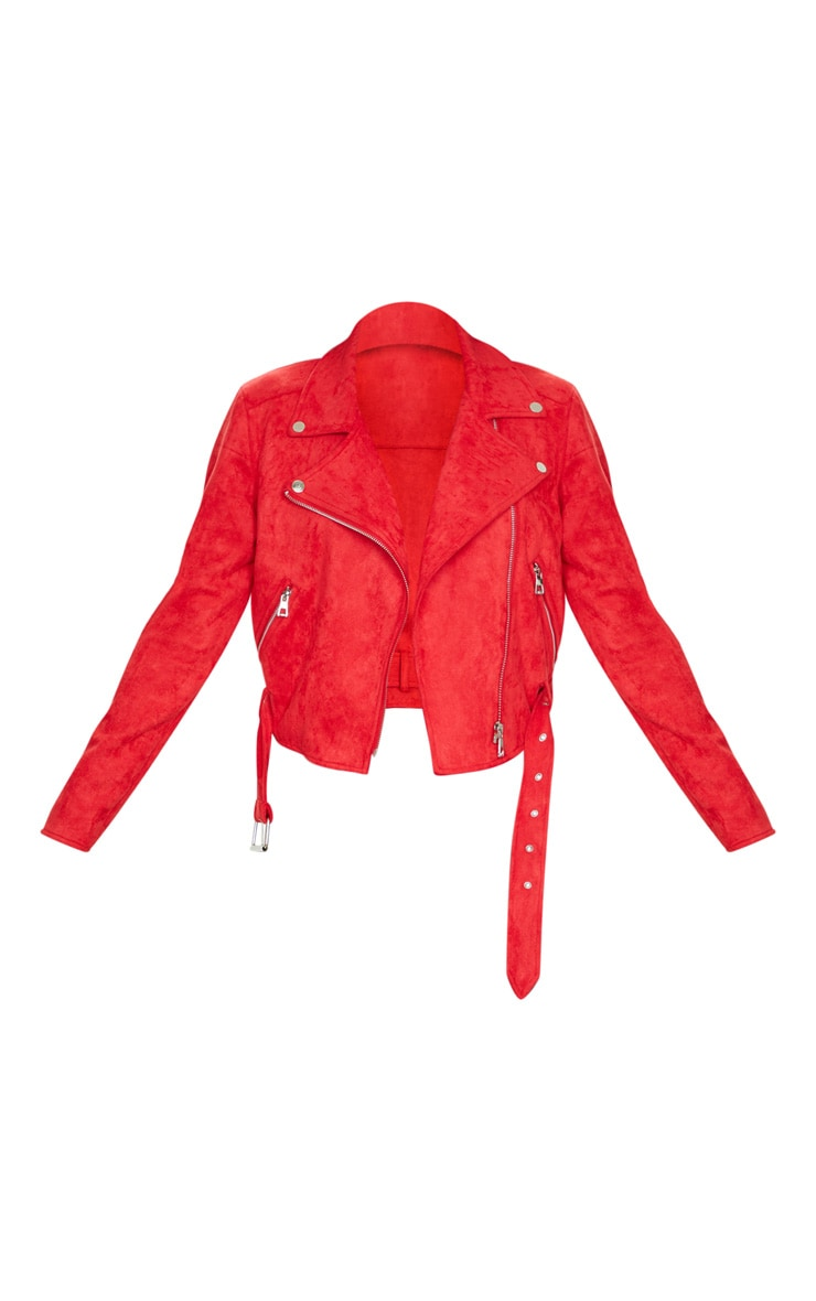 Red Faux Suede Biker Jacket 5