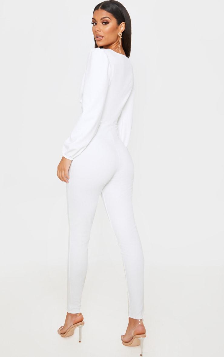 White Plunge Balloon Sleeve Jumpsuit 2