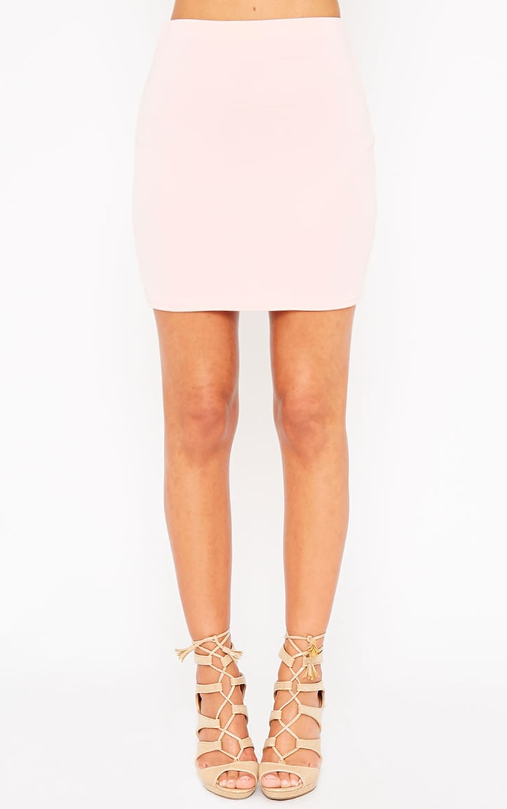 Basic Baby Pink Scuba Mini Skirt 5