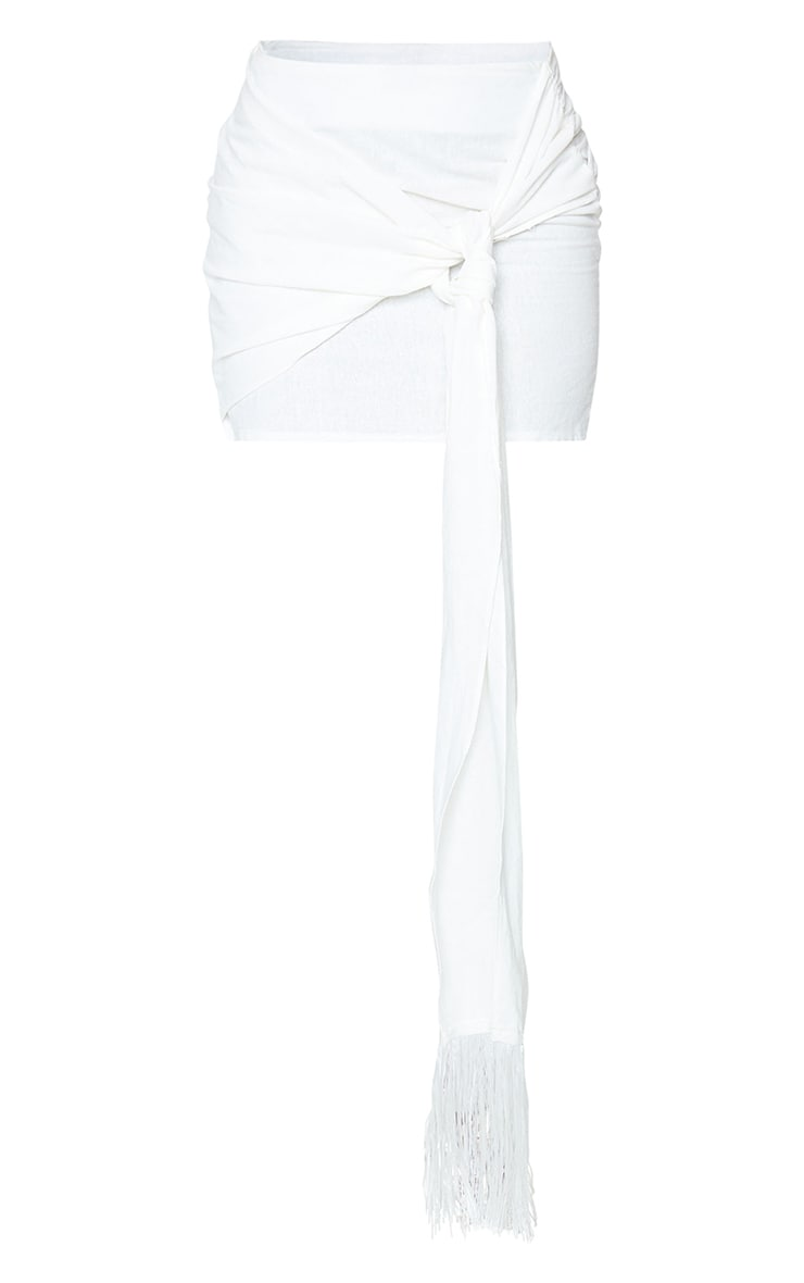 White Linen Feel Ruched Bum Extreme Tie Detail Mini Skirt 6