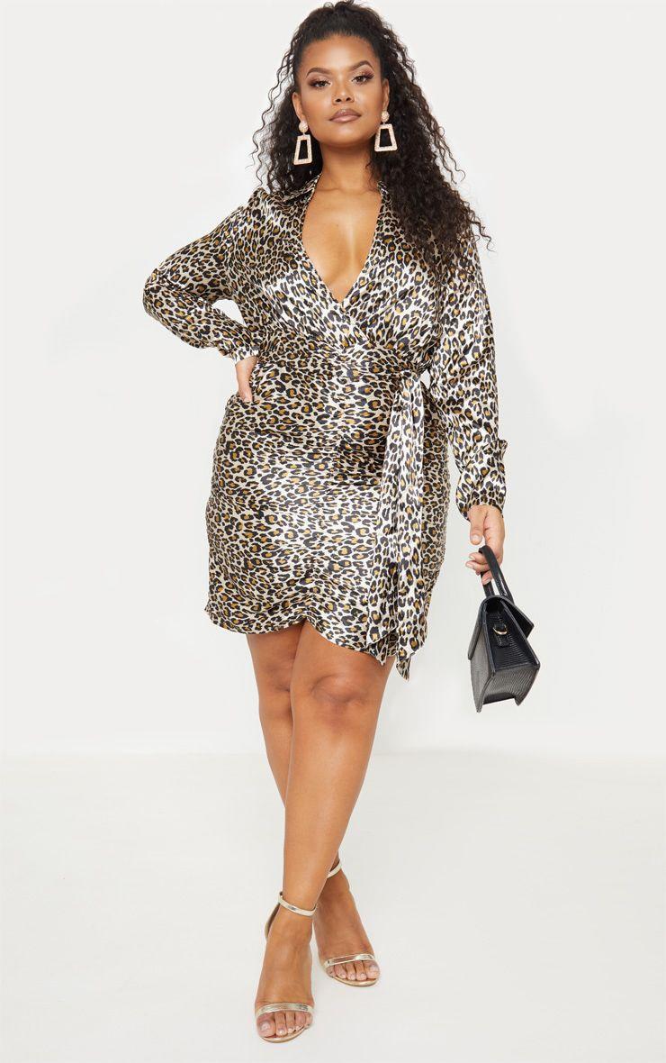 Plus Tan Leopard Print Ruched Skirt Shirt Dress 1