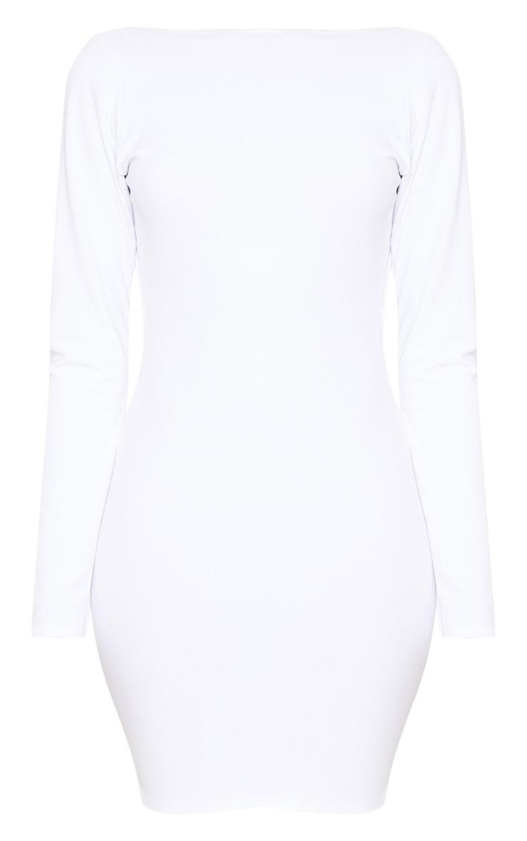 White Long Sleeve Open Back Bodycon Dress 3