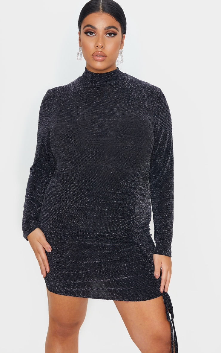 Plus Black Textured Glitter Ruching Detail High Neck Bodycon Dress 4