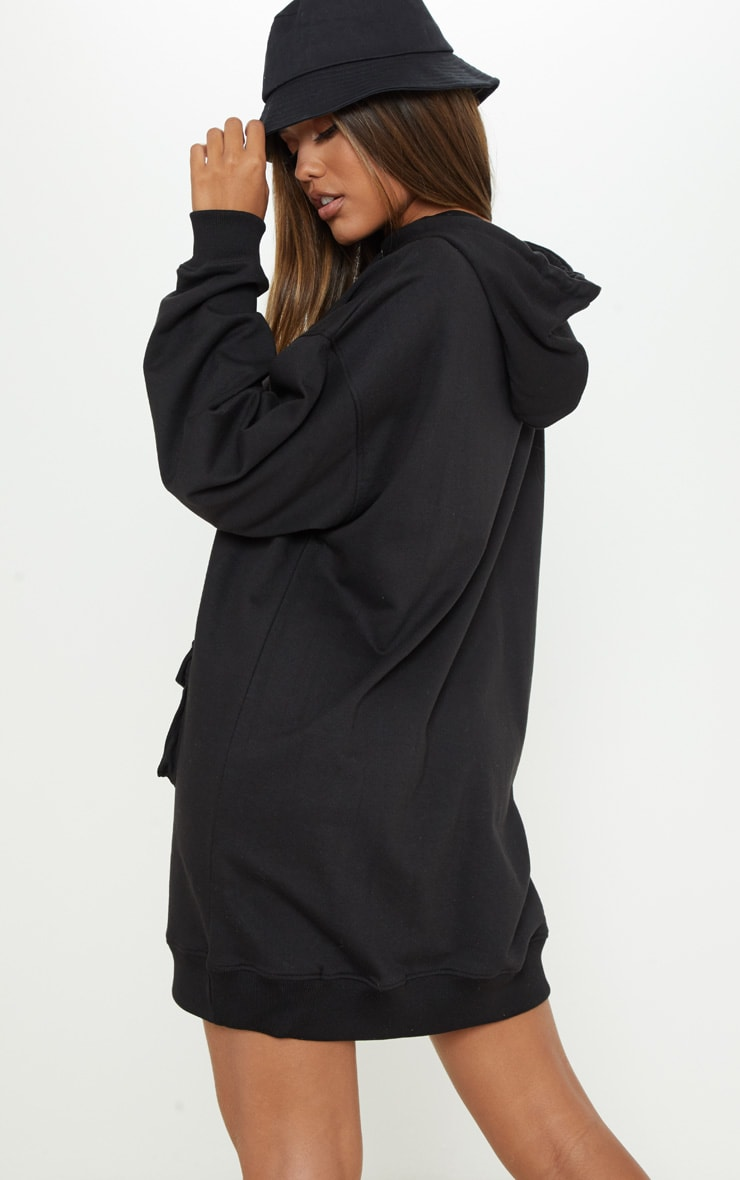 Black Pocket Front Hoodie Dress 2