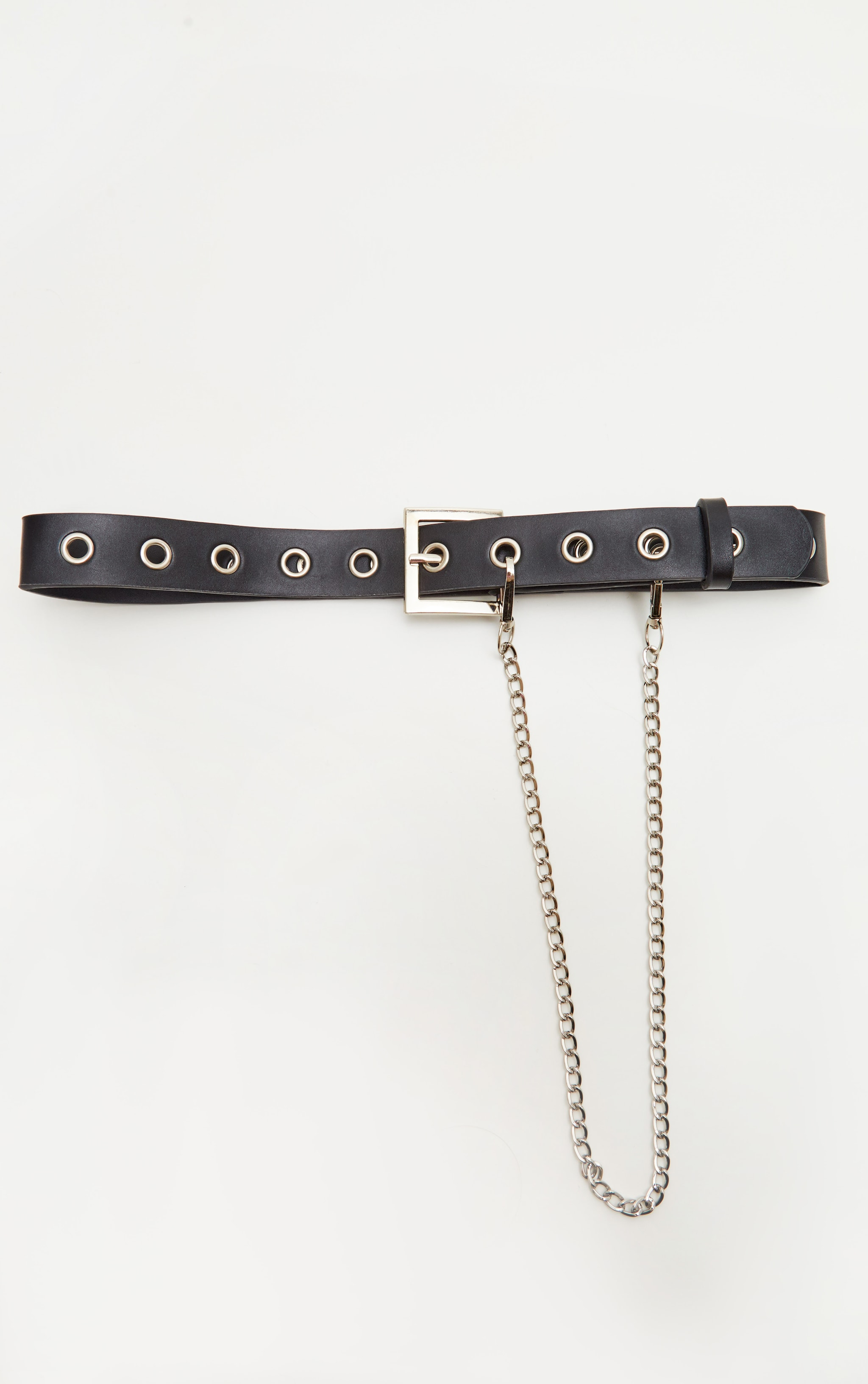 Black Eyelet and Chain Detail Belt 2