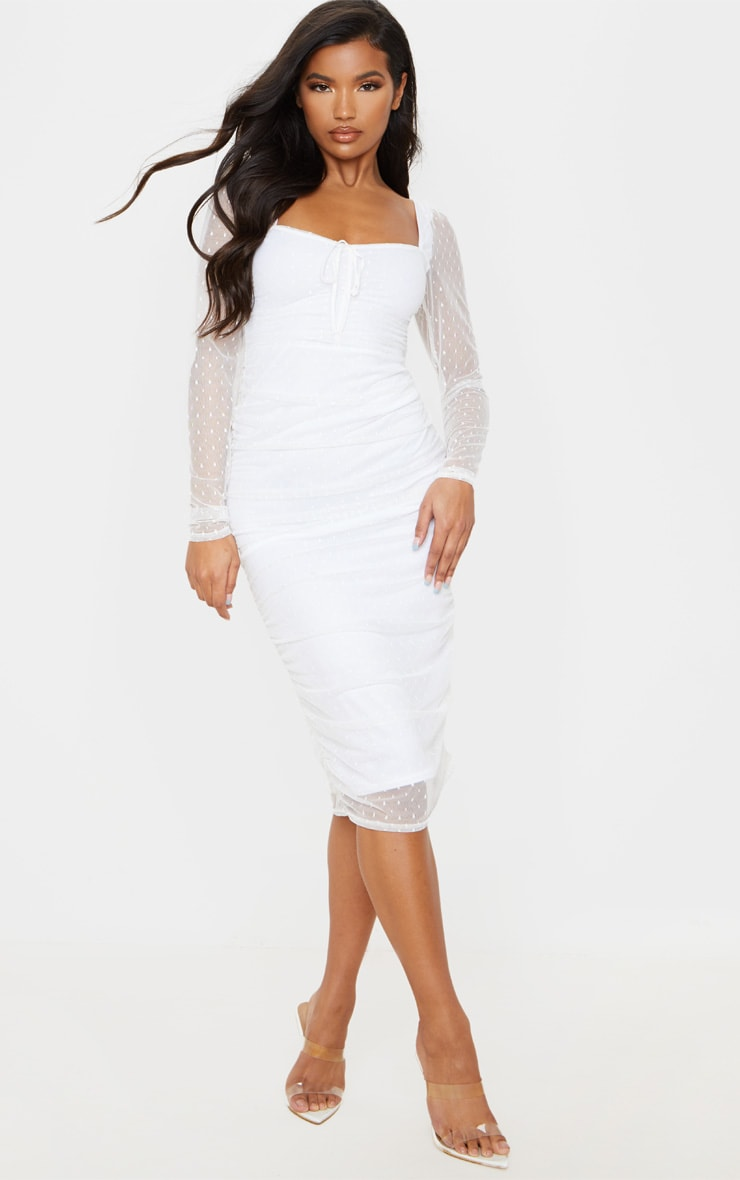 White Dobby Mesh Ruched Long Sleeve Midi Dress
