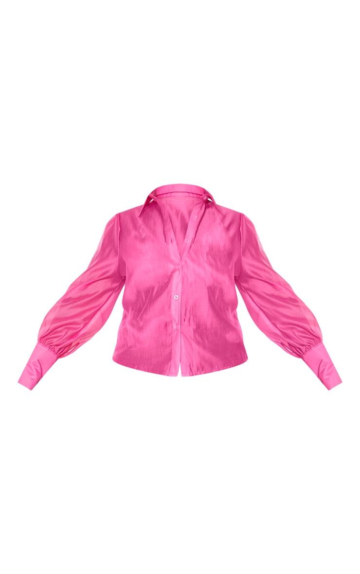 Plus Pink Sheer Woven Oversized Shirt 3