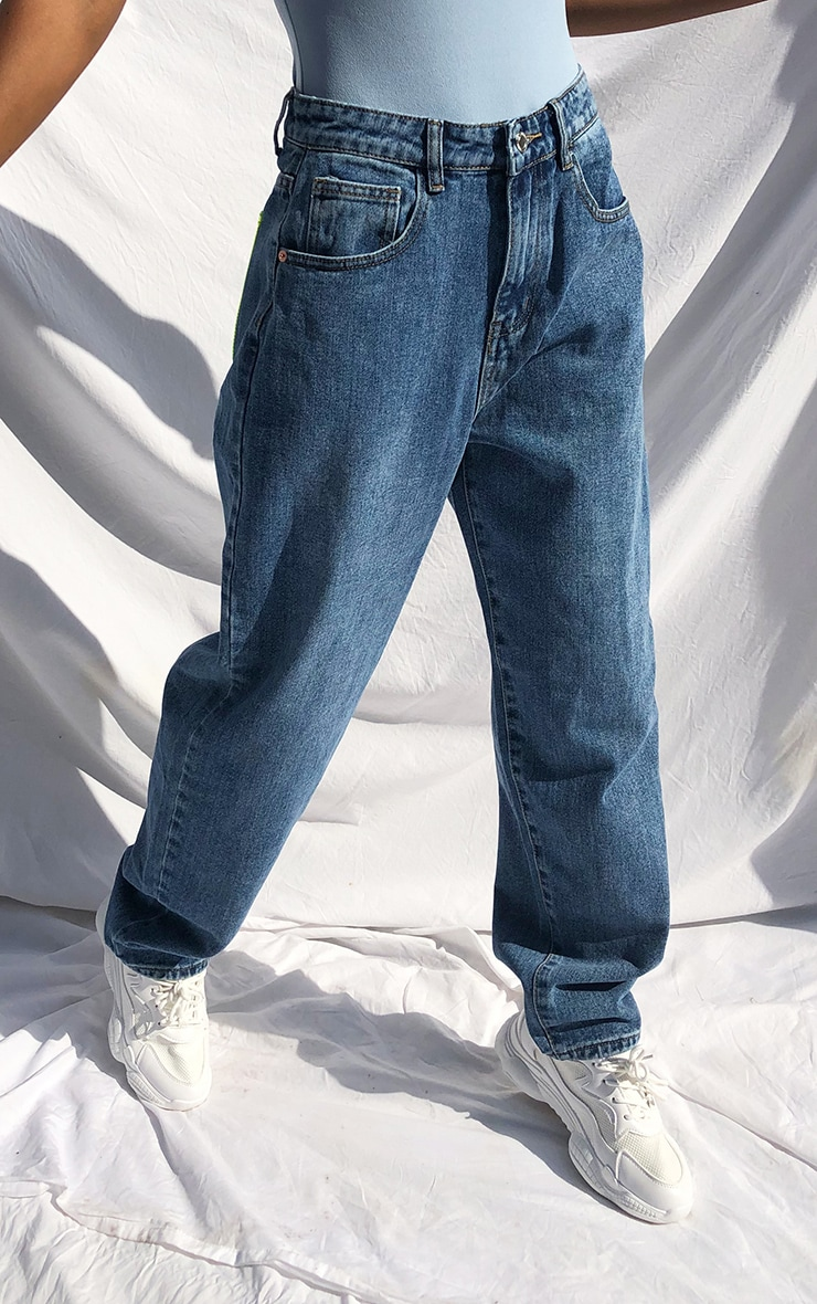 Mid Blue Wash With Neon Green Clear Pocket Mom Jeans 2