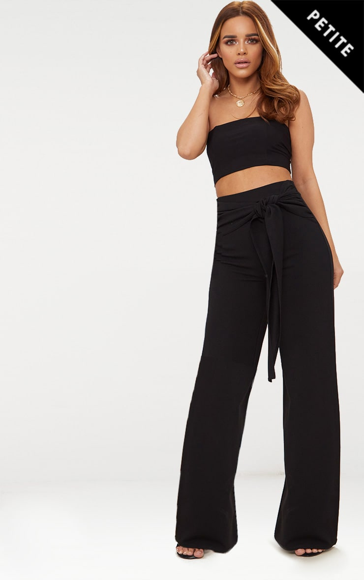 Petite Black Tie Front Wide Leg Trousers