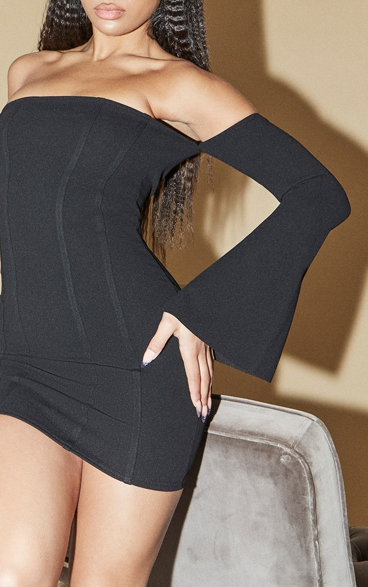 Black Bardot Flare Sleeve Binding Detail Bodycon Dress 4
