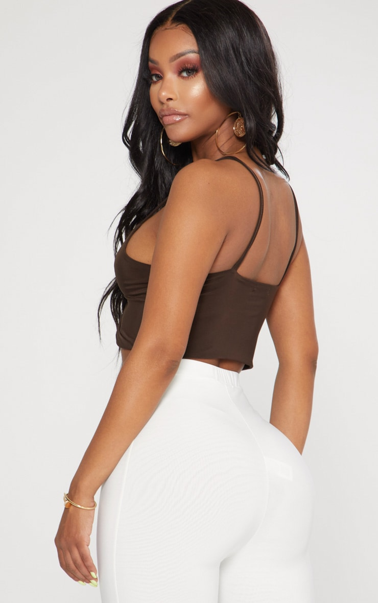 Shape Chocolate Slinky Twist Detail Strappy Crop Top 2