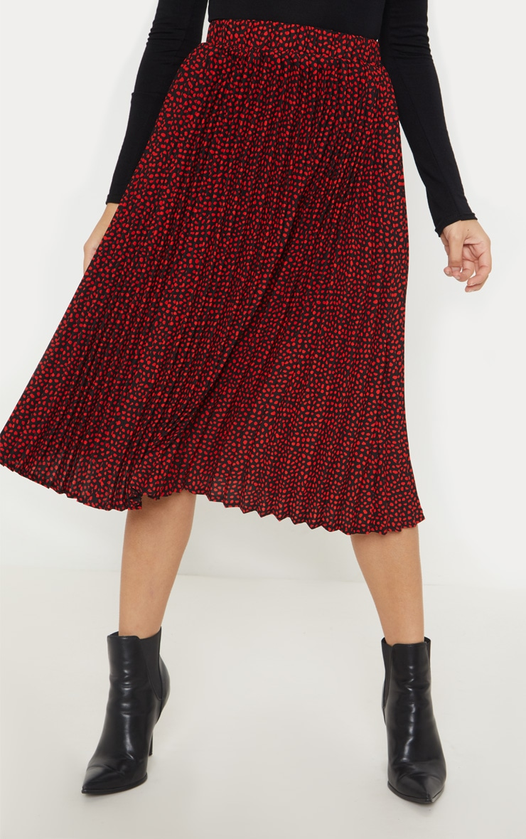 Petite Burgundy Chiffon Polka Dot Pleated Midi Skirt  2