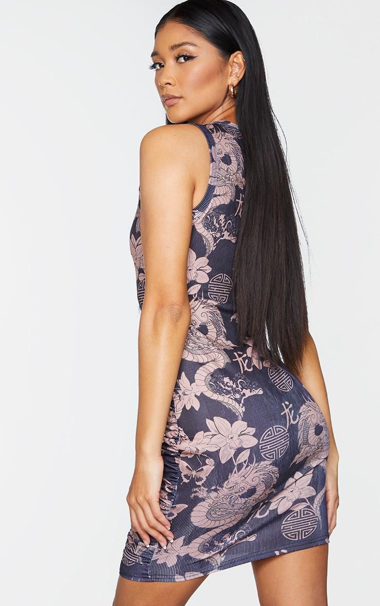 Black Dragon Print Ruched Sleeveless Bodycon Dress 2
