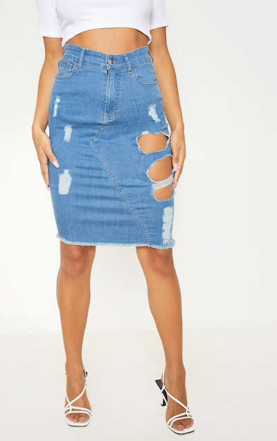 Mid Wash Distressed Denim Midi Skirt