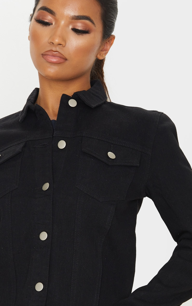 Black Basic Raw Hem Cropped Denim Jacket 5