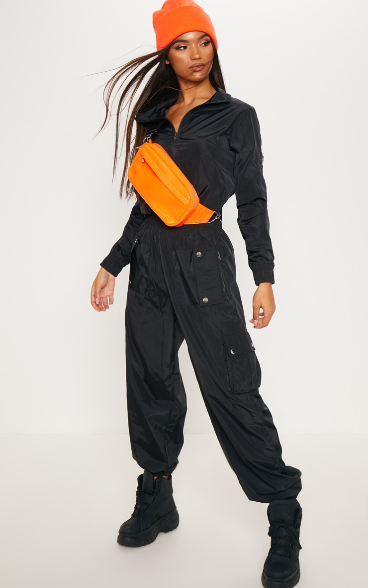 Black Shell Zip Up Tracksuit Top 4