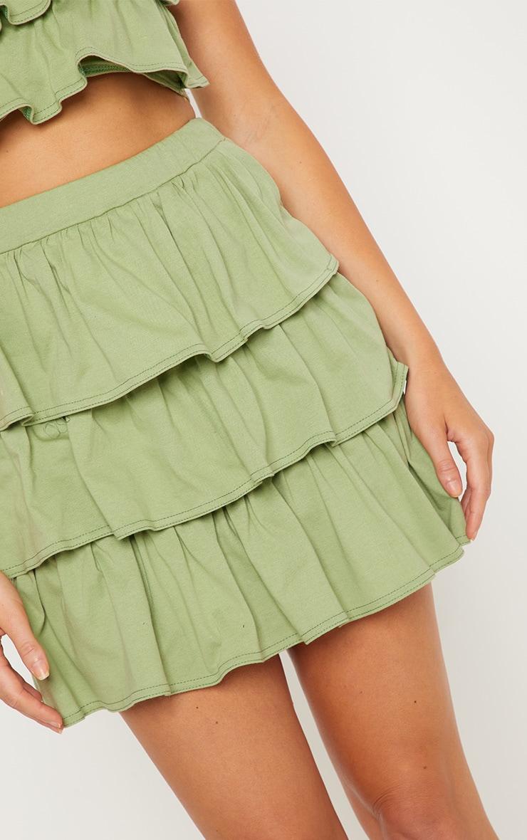 Sage Green Frill Mini Skirt 6