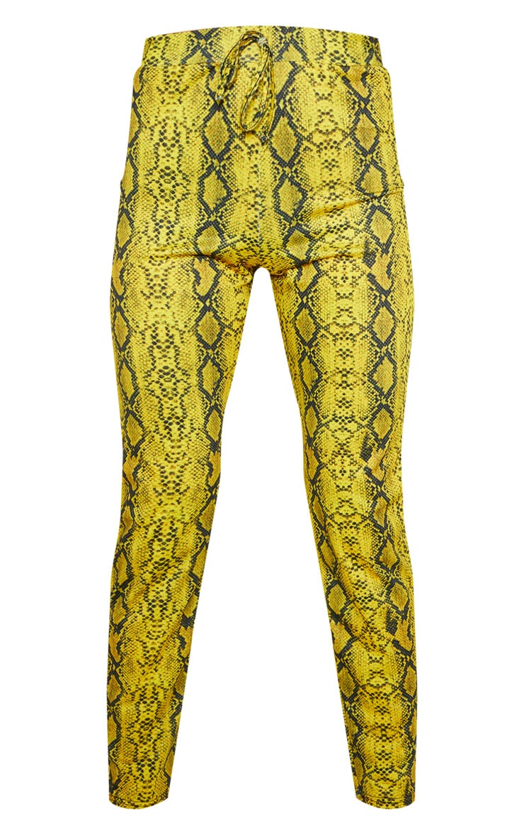 Yellow Snake Printed Cigarette Pants 3