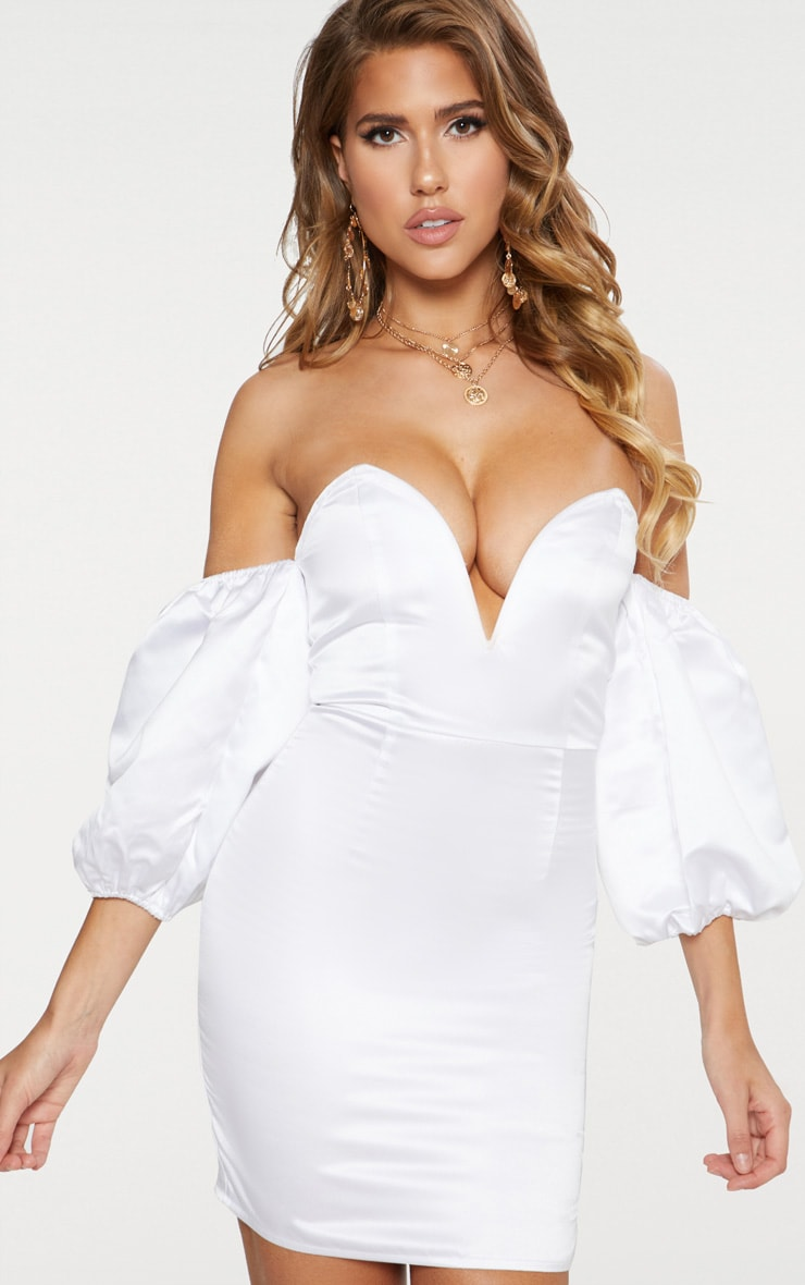 White Satin Puff Sleeve V Plunge Bardot Bodycon Dress 1